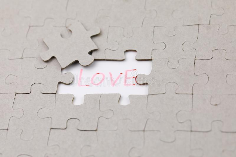 Image of Puzzle piece with love royalty free stock photography