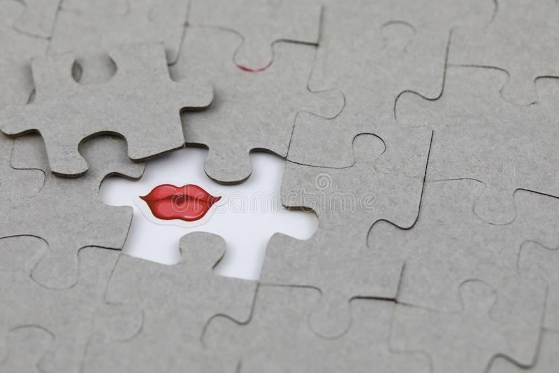 Image of Puzzle piece with Red lips. Business, assemble. Image of Puzzle piece with Red lips, Last piece of jigsaw puzzle , Vector transparent puzzle on white stock image