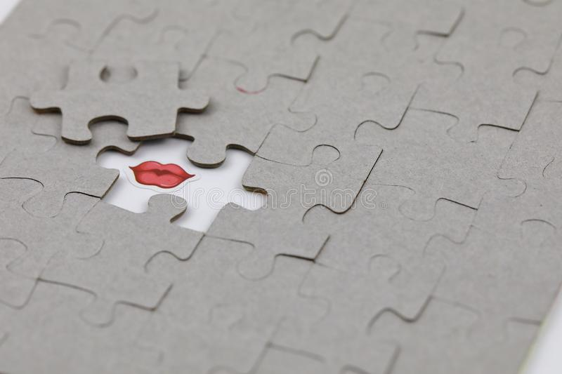 Image of Puzzle piece with Red lips. Business, assemble. Image of Puzzle piece with Red lips, Last piece of jigsaw puzzle , Vector transparent puzzle on white royalty free stock images