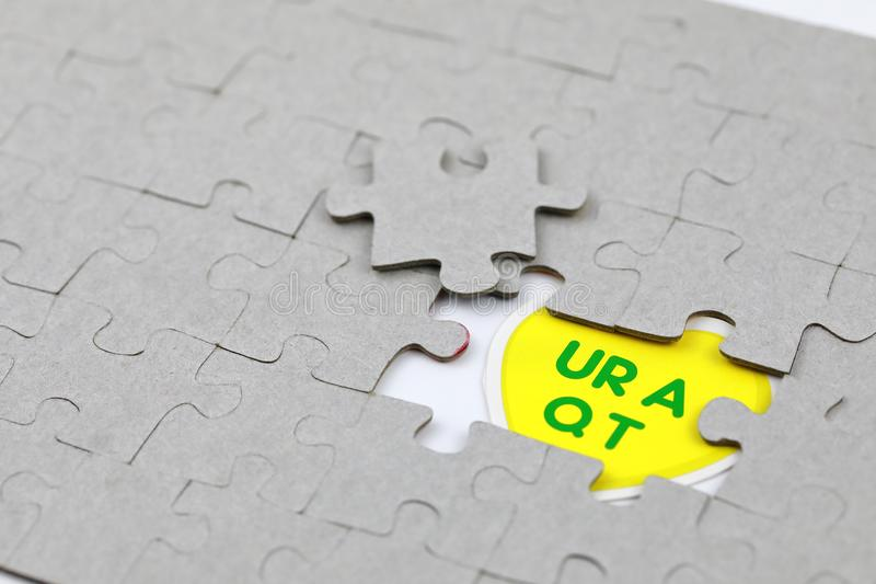 Image of Puzzle piece with UR A Q T. Business, assemble. Image of Puzzle piece with UR A Q T, Last piece of jigsaw puzzle , Vector transparent puzzle on white stock images