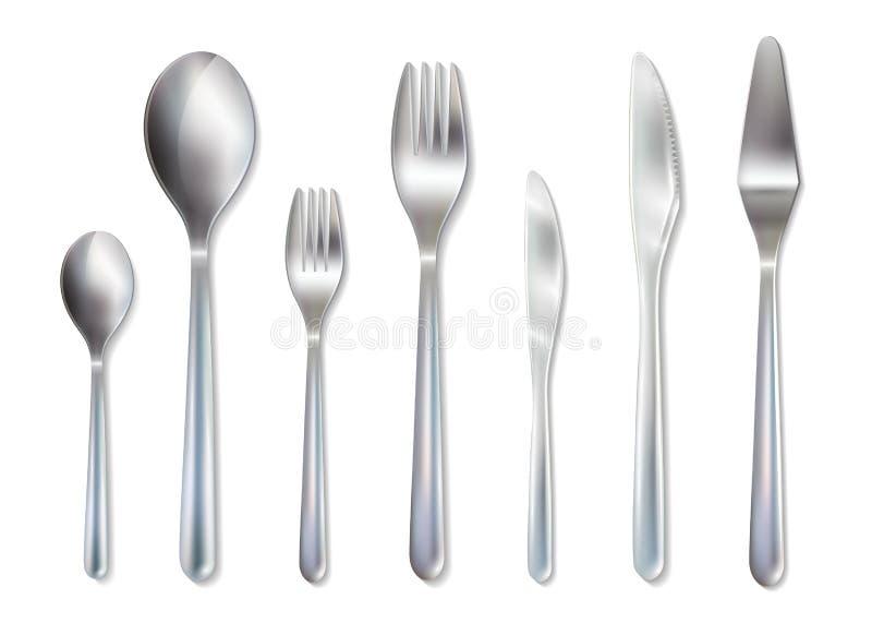 Image réaliste d'ensemble de dîner de réception de couverts illustration de vecteur