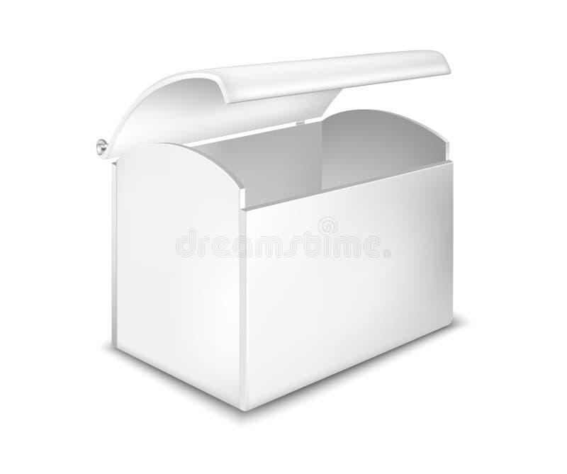 Image réaliste de boîte à bijoux Ouvrez le coffre en métal illustration stock