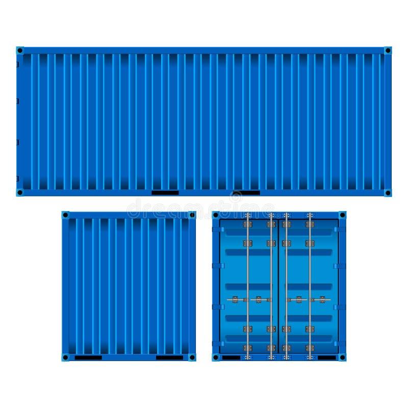 Image réaliste du récipient bleu de trois côtés, d'isolement sur le fond blanc illustration libre de droits