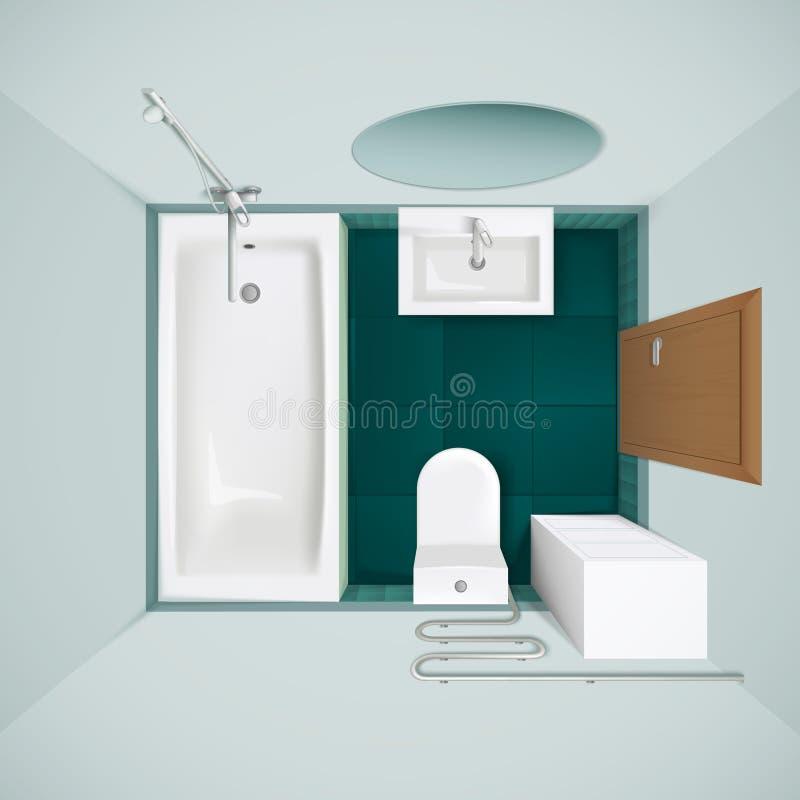 Image réaliste intérieure de vue supérieure de salle de bains illustration libre de droits