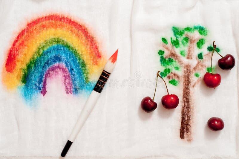 Image rêveuse et abstraite d'effet de double exposition de cerisier avec la texture de course de brosse d'aquarelle images libres de droits