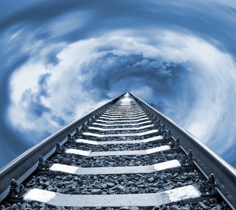 Image of railroad rails against the sky close-up. Image of railroad rails against the sky stock image