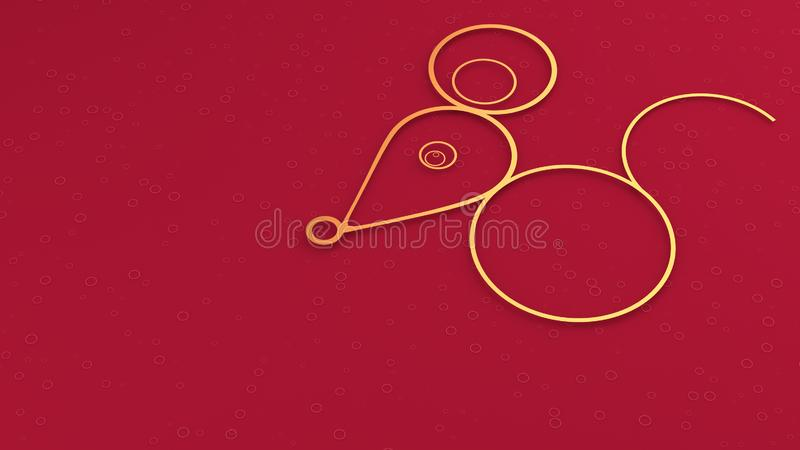Image of a rat as a symbol of chinese new year in minimal style design on red background with copy space stock photos