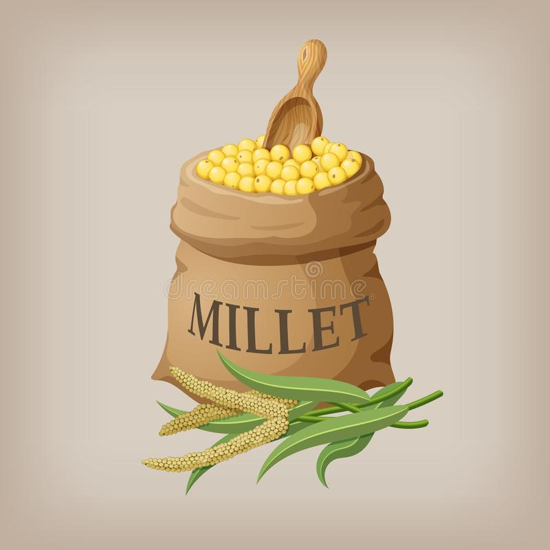 An image of raw yellow millets in a bag. Vector illustration. EPS10 vector illustration