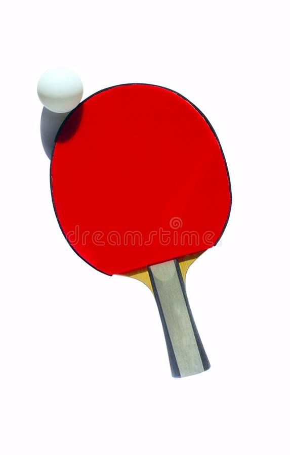 Image Of Red Racket And White Ball For Tennis Isolated Over White Background. royalty free stock photos