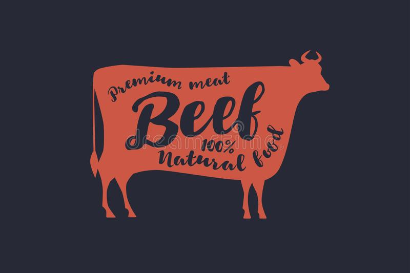 Image of a red silhouette of a cow with the inscription. Farm animal with sample text. Emblem for butcher shops, markets, packaging and advertising. Vector vector illustration