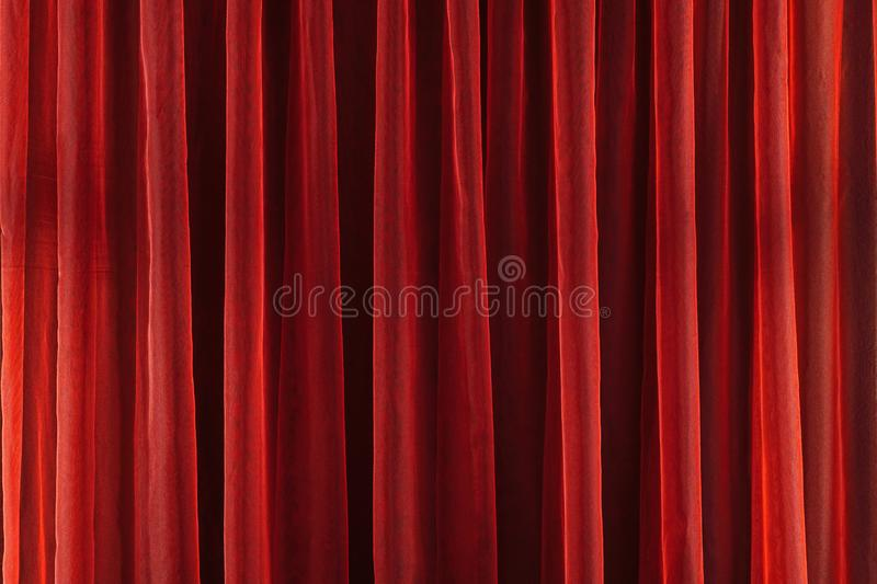 Image of Red theater curtain as background. Texture stock photography