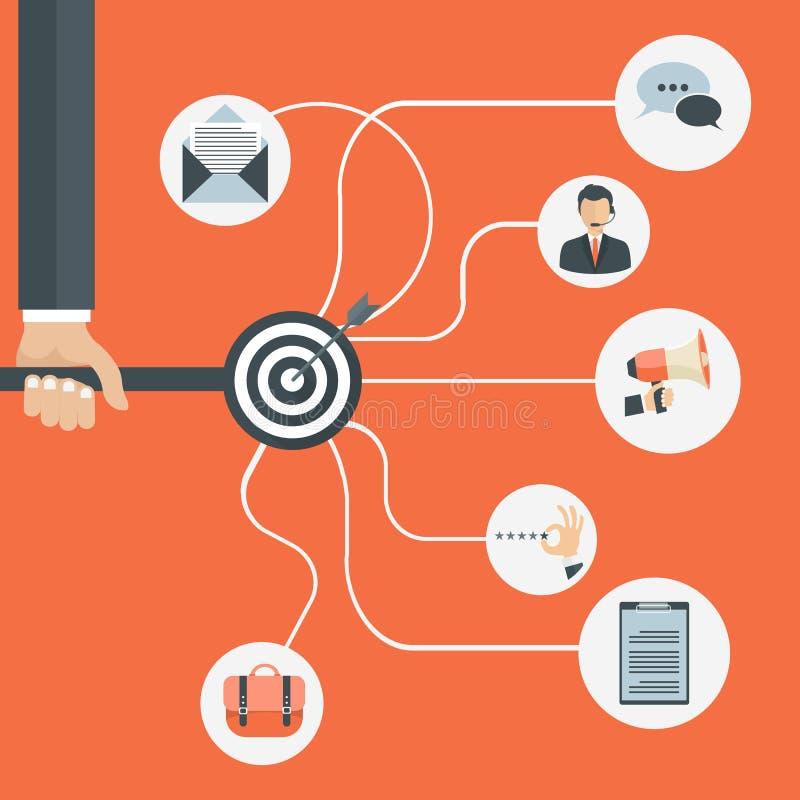 Image relative d'icônes de communication sociale de réseau de Digital Conception plate de vecteur illustration libre de droits
