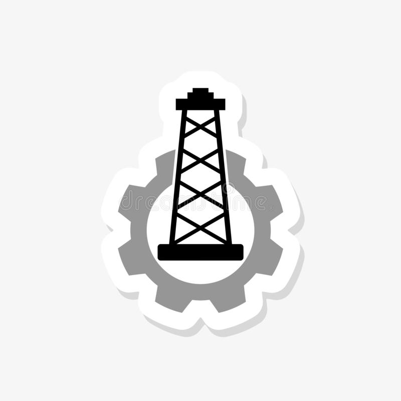 Image relative to oil mining industry. Oil pump cut out icon. Paper sticker stock illustration