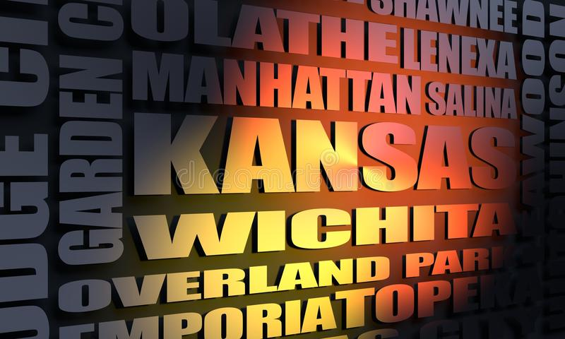 Kansas cities list. Image relative to USA travel. Cities and places of Kansas cloud. 3D rendering royalty free stock photos