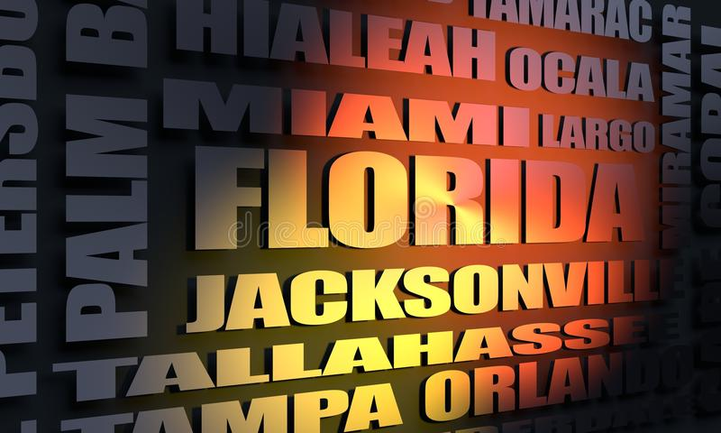 Florida cities list. Image relative to usa travel. Florida state cities list. 3D rendering stock illustration