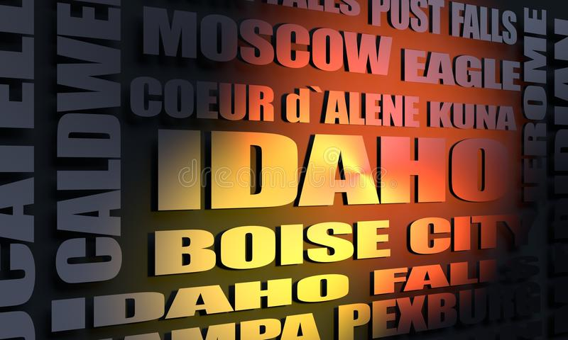 Idaho cities list. Image relative to usa travel. Idaho state cities list. 3D rendering stock photography