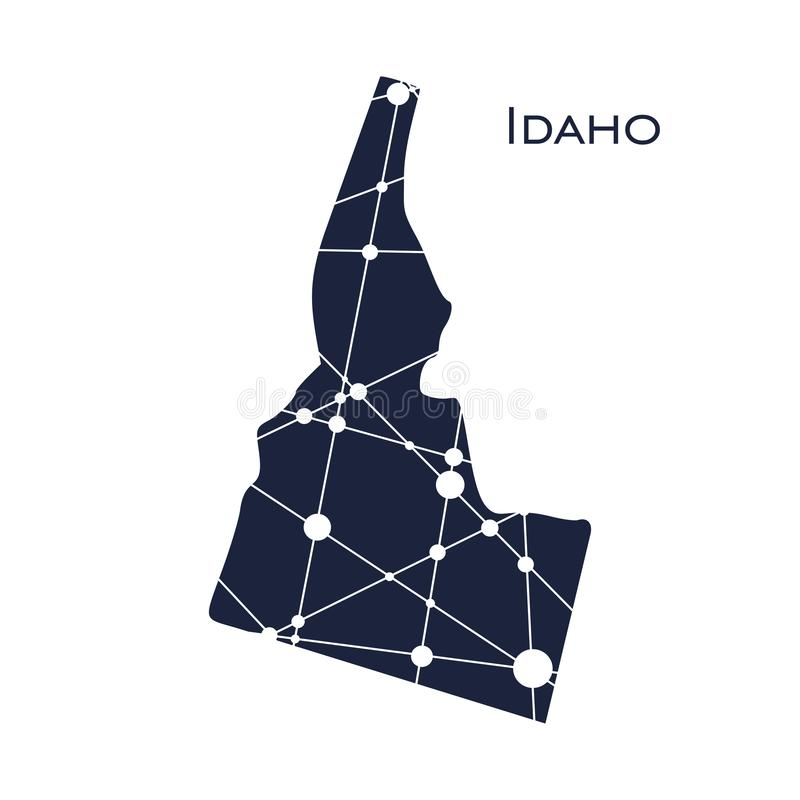 Idaho state map. Image relative to USA travel. Idaho state map textured by lines and dots pattern royalty free illustration