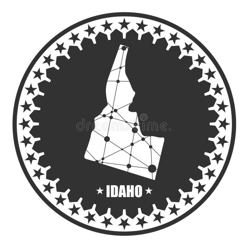 Idaho state map. Image relative to USA travel. Idaho state map textured by lines and dots pattern. Stamp in the shape of a circle stock illustration