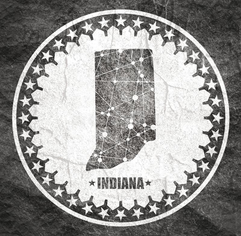 Indiana state map. Image relative to USA travel. Indiana state map textured by lines and dots pattern. Stamp in the shape of a circle stock image