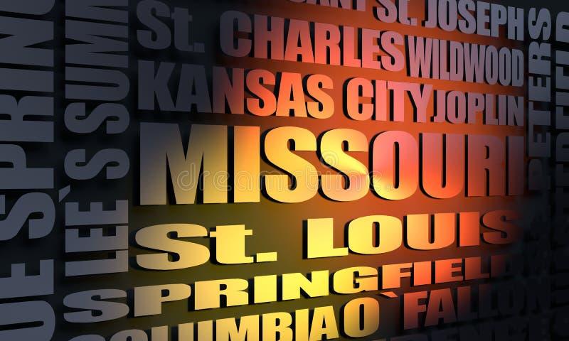 Missouri state cities list vector illustration