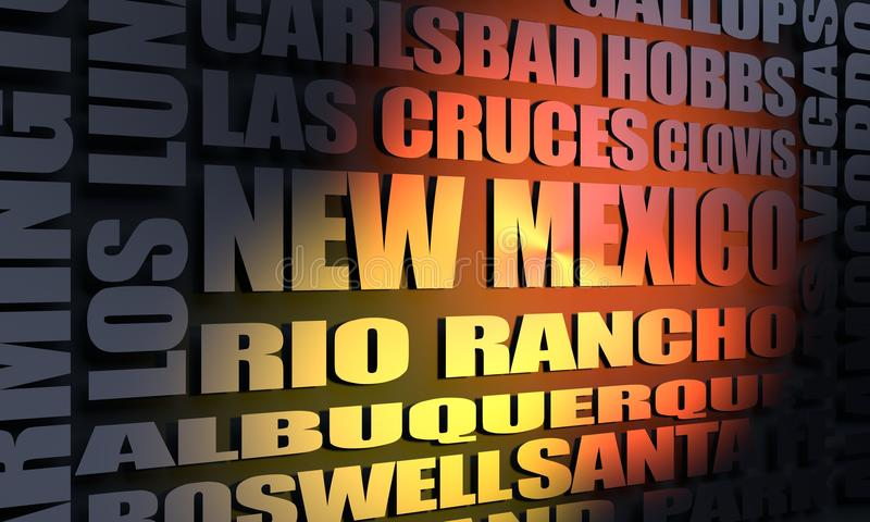 New Mexico state cities list. Image relative to USA travel. New Mexico cities and places names cloud. 3D rendering stock illustration