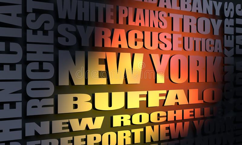 New York state cities list royalty free illustration
