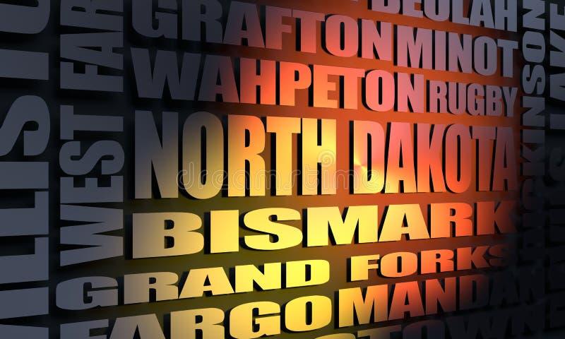 North Dakota cities list vector illustration