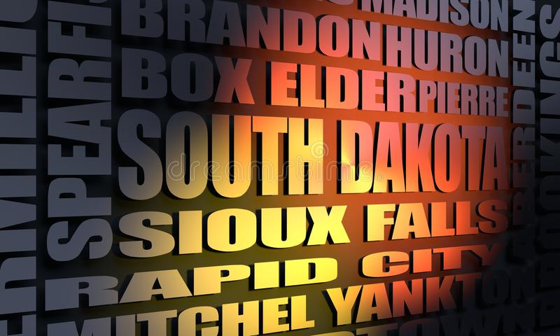 South Dakota cities list. Image relative to USA travel. South Dakota cities and places names cloud. 3D rendering vector illustration