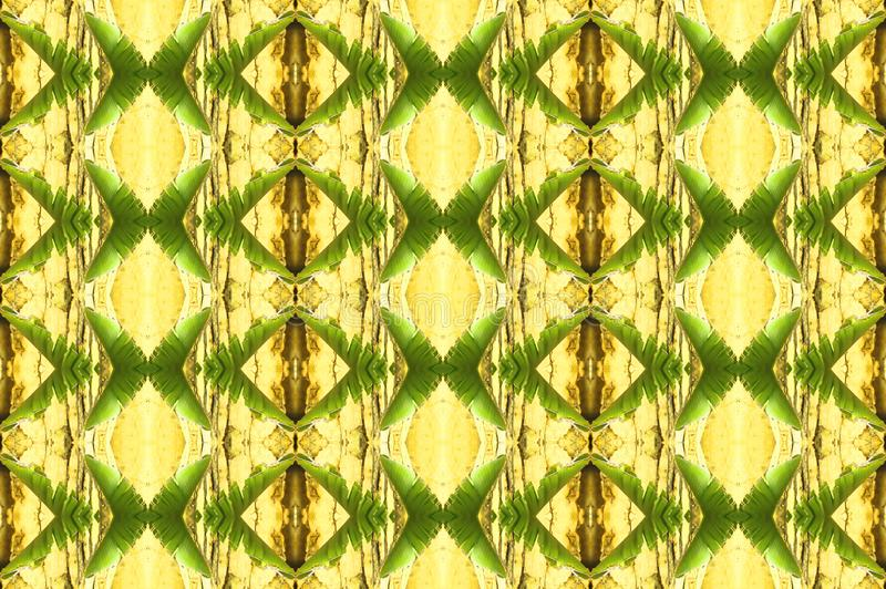 PALM LEAF REPEAT PATTERN IN GREEN AND YELLOW TONES vector illustration