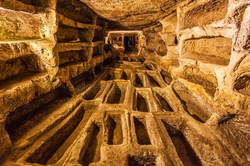 Larderia catacomb in Ragusa country stock image