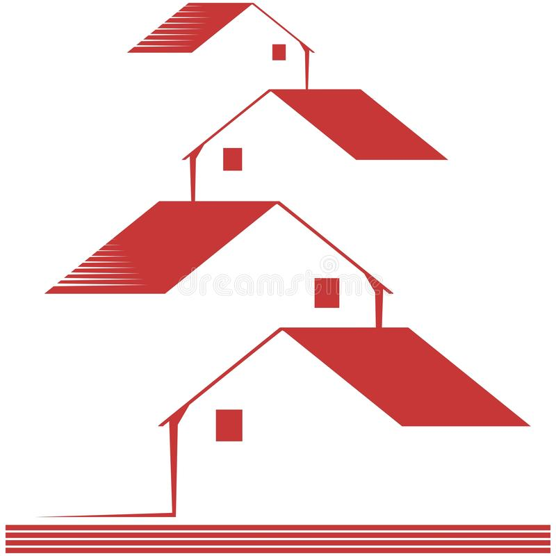 Logo with stylized houses isolated royalty free illustration