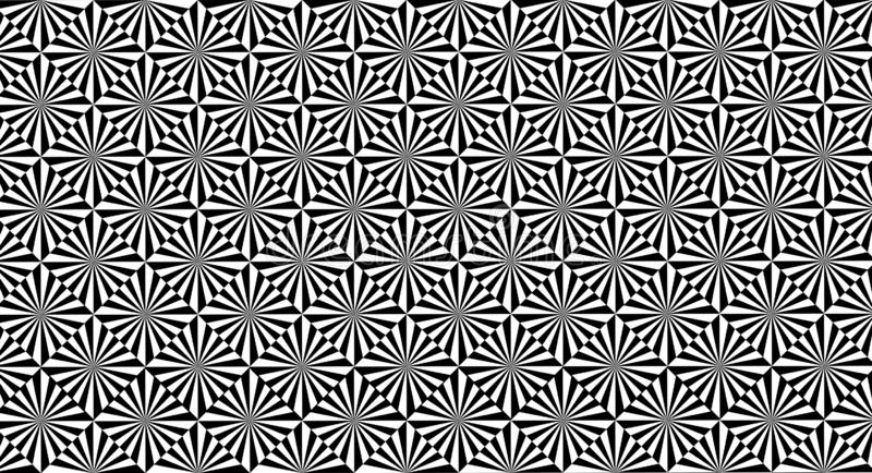 Abstract and conceptual background of rhombuses in black and white, with optical illusion stock illustration