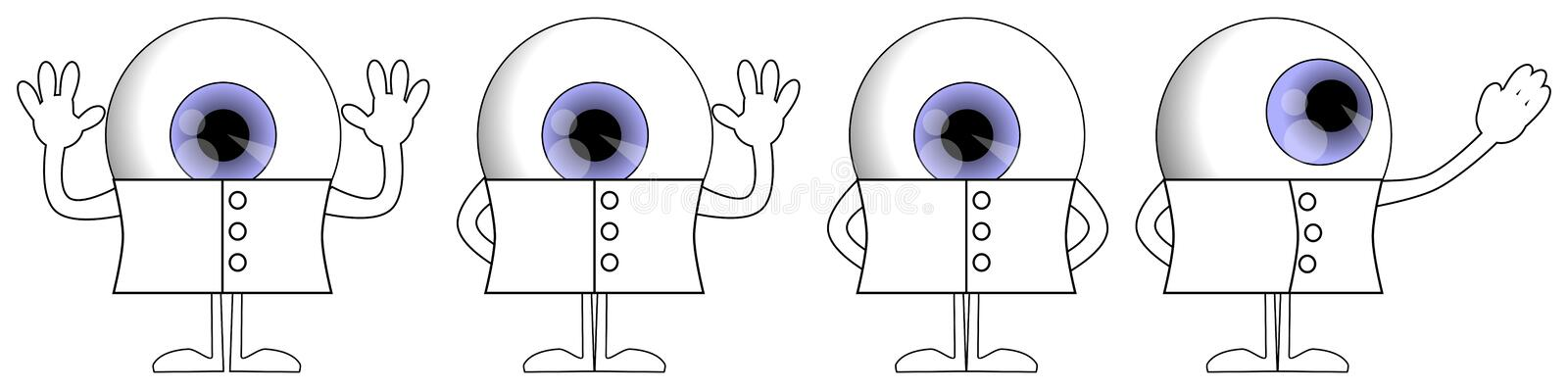 Eye cartoon in different poses, character, funny colored illustration, isolated stock illustration