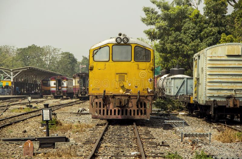 Mage retro vintage style of Old Diesel Electric locomotive train. royalty free stock photo