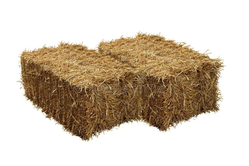 Image of rice straw briquette, white background.  royalty free stock photography