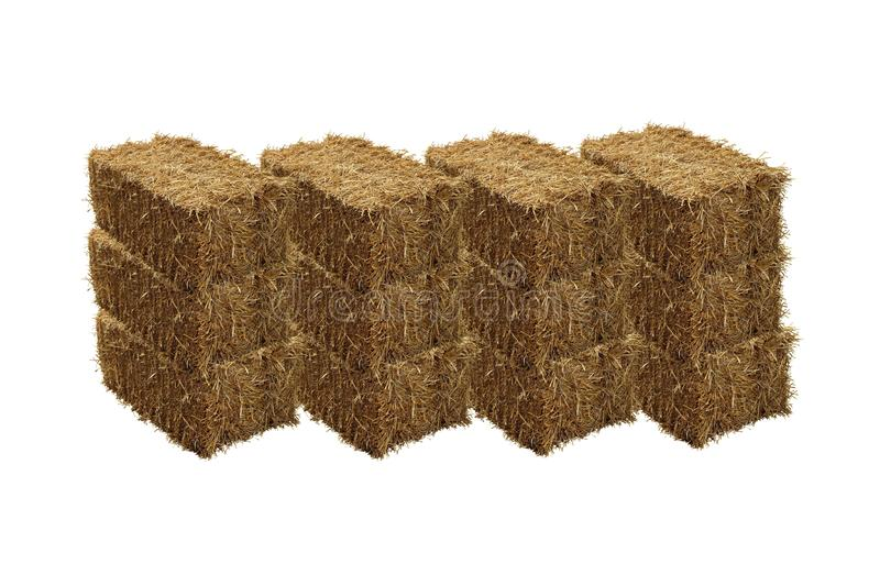 Image of rice straw briquette, white background.  stock image
