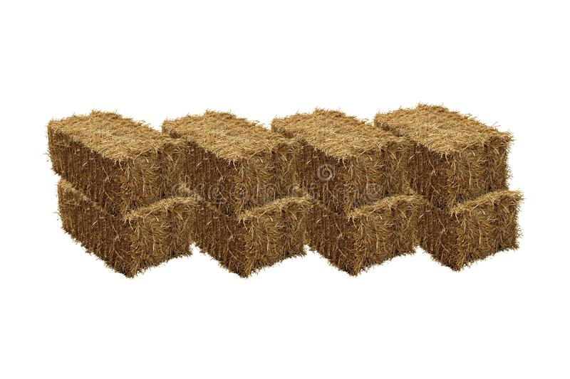 Image of rice straw briquette, white background.  stock photo