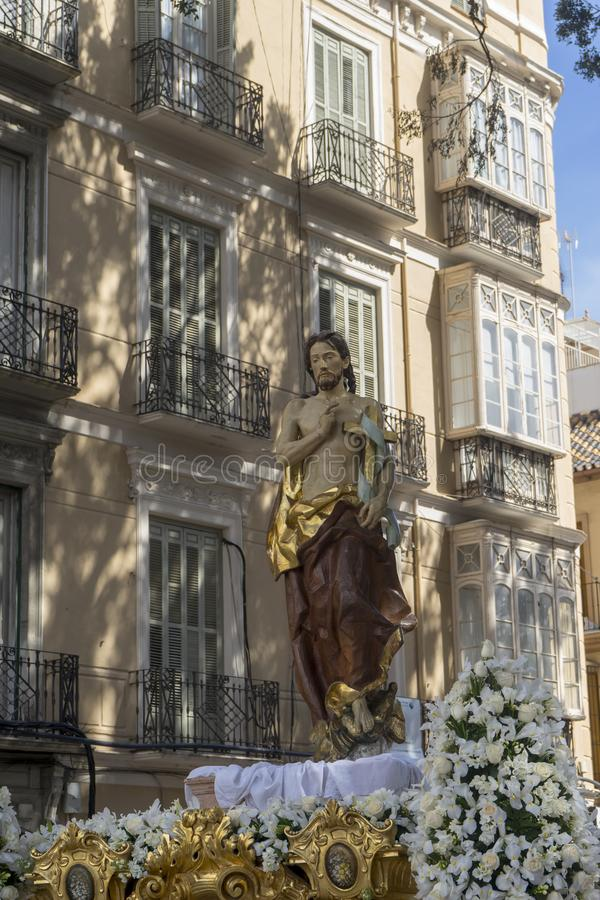 The Throne of the Risen from the Holy Week in Malaga, Andalucia. Image of risen Christ in the holy week of Malaga stock image