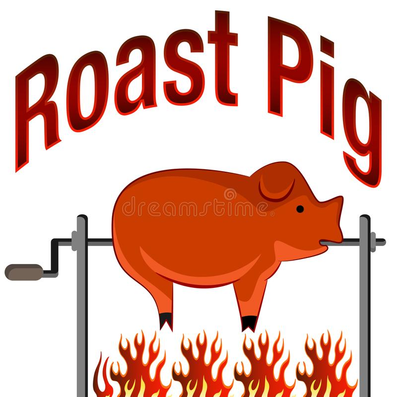 Roasted Pig Cartoon and Text. An image of a Roasted Pig on a spit fire Cartoon and Text stock illustration