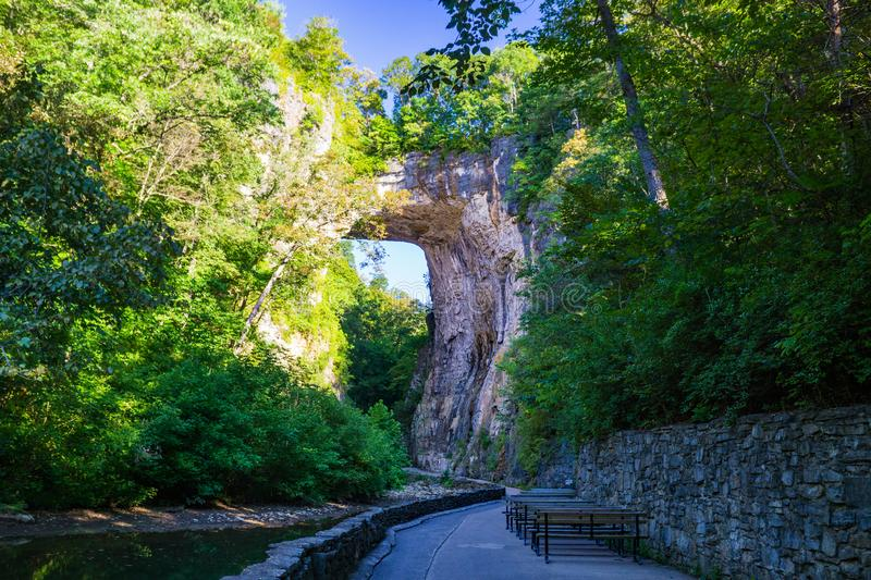 Image of the Rock Arch at Natural Bridge State Park, Virginia, USA. Natural Bridge State Park, Rockbridge County, VA – August 24th: An image of the Rock Arch royalty free stock image