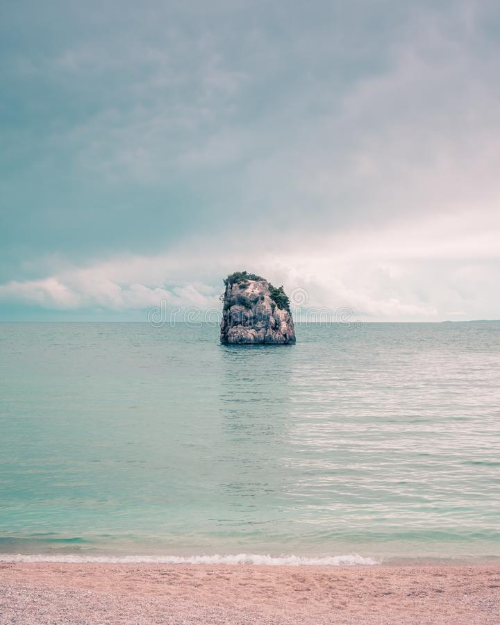 Image of a rock off the coast of Parga.Summer vibes. Amazing Greece royalty free stock photography