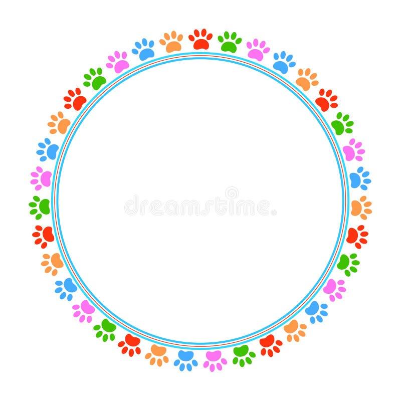 Image ronde animale de vecteur de cadre de pattes colorées illustration de vecteur