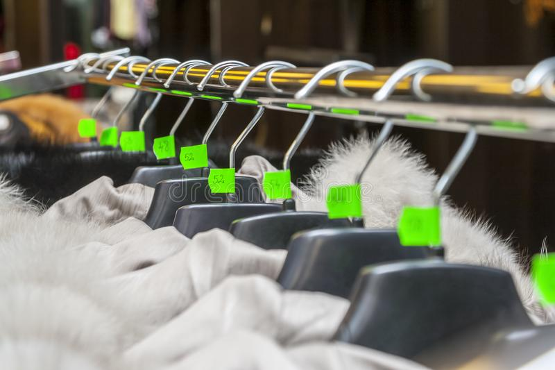 Hangers in a Clothes Shop stock images