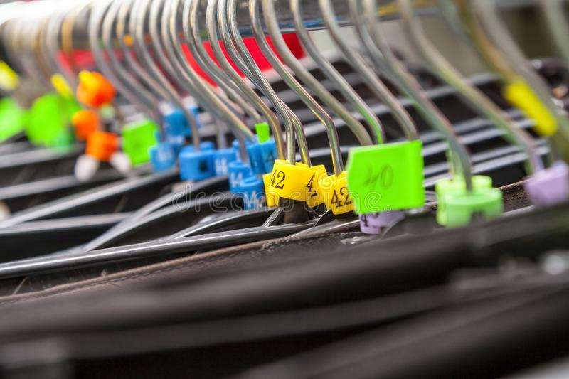 Hangers in a Clothes Shop royalty free stock photo