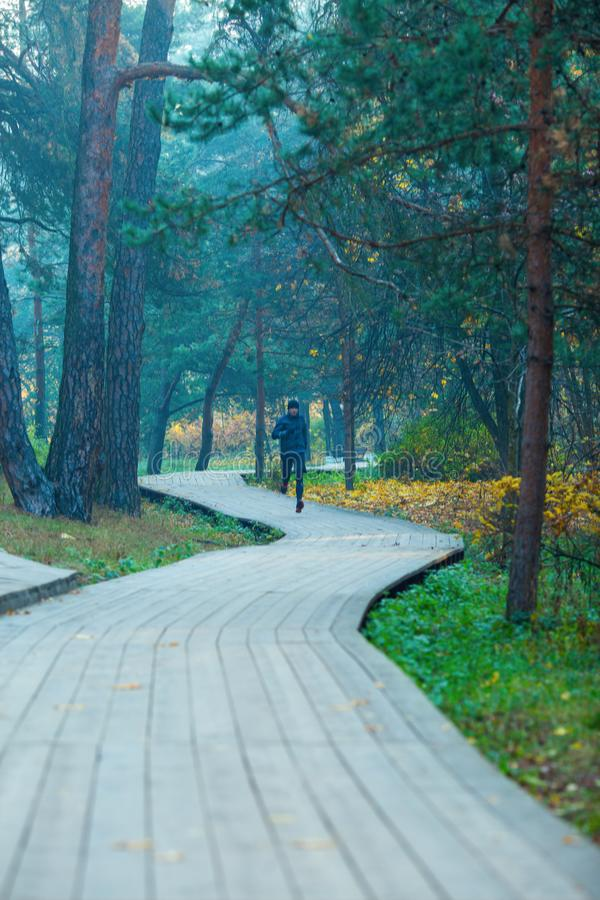 Image of running athlete in autumn park. Image of running athlete in autumn park in afternoon stock photo
