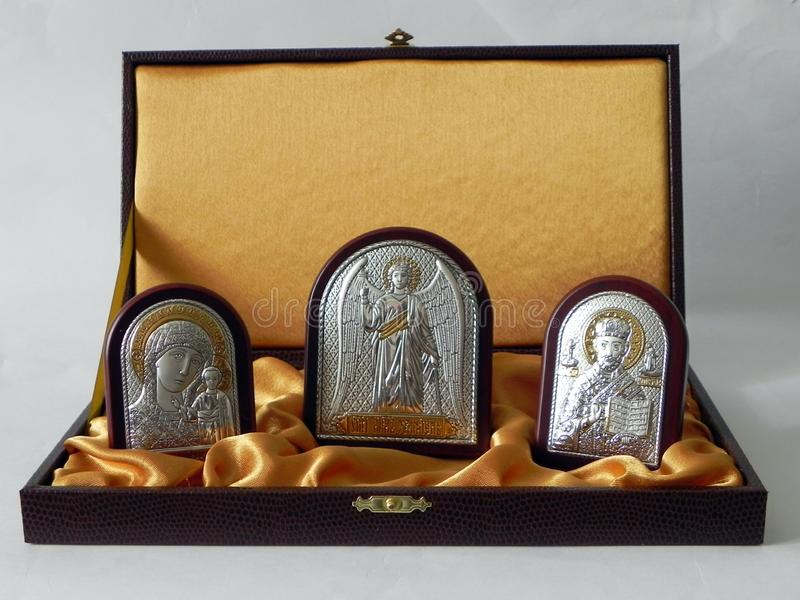The image of the Saint in the picture. Icon in a beautiful gift set. Details and close-up. stock photo