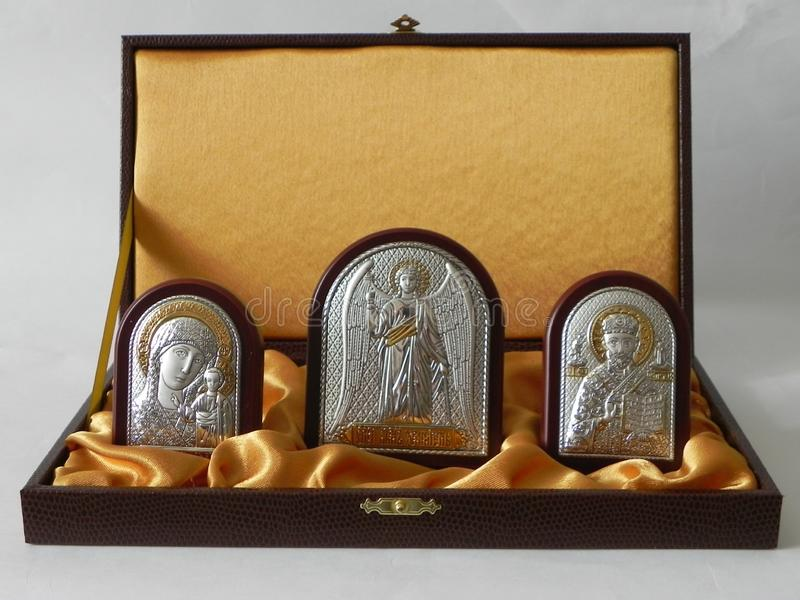 The image of the Saint in the picture. Icon in a beautiful gift set. Details and close-up. The image of the Saint in the picture. Icon in a beautiful gift set stock images