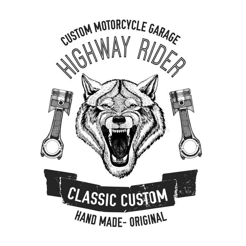 Image sauvage de vecteur de loup pour le T-shirt de moto, tatouage, club de moto, logo de moto illustration de vecteur
