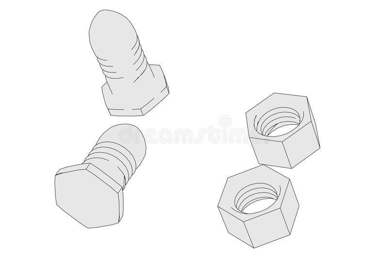 Image of screws set stock illustration
