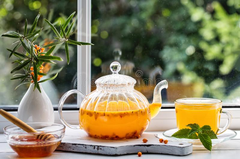Image with sea buckthorn tea royalty free stock photos